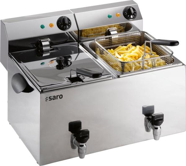 SARO - Premium Fritteuse 8+8 Liter mit Ablasshahn