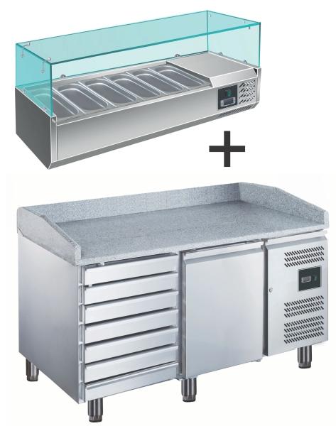 SARO Pizzatisch 1,5 x 0,8 m - mit GN 1/3 Kühlaufsatz